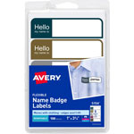 "Avery ""Hello"" Flexible Self-Adhesive Name Badge Labels, 1 x 3-3/4, Prof. Asst, 100/Pk"