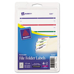 Avery Removable Filing Labels for Inkjet/Laser, 2/3 x 3-7/16, Assorted, 252/Pack