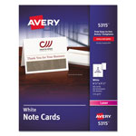 "Avery White 4 1/4""x5 1/2"" Laser Note Cards, 2 Cards/Sheet, 60 Cards & Envelopes per Pack"