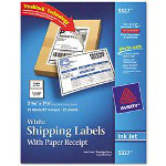 Avery Shipping Labels with Paper Receipt, 5 1/2 x 8 1/2, White, 25/Pack