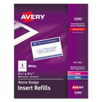 Avery White Name Badge Inserts For Laser Printers, 400 2 1/4x3 1/2 Inserts/Box