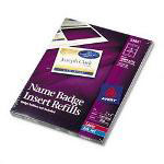 Avery White Name Badge Inserts For Laser Printers, 300 3 x 4 Inserts/Box