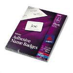Avery Self Adhesive Laser/Ink Jet Name Badge Labels, 2 1/3x3 3/8, Plain White, 400/Box