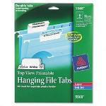 Avery Printable Top View Hanging File Tabs on 8 1/2 x 11 Sheets, 1/5 Cut, 72 Tabs/Pack