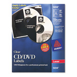 Avery CD/DVD Clear Glossy Label for Laser Printers, 40 Labels per Pack