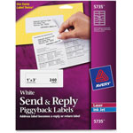 Avery Send & Reply Labels, White, 12/Sheet, 240/Pack