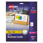 "Avery Clean Edge Laser Business Cards, 2""x3 1/2"", White, 200 Cards per Pack"