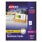 "Avery Dennison Two Side Clean Edge Laser Business Cards, 2""x3 1/2"", White"