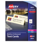 Avery Medium Embossed Tent Cards, Ivory, 2 1/2 x 8 1/2, 2 Cards/Sheet, 100/Box