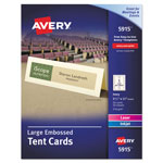 Avery Large Embossed Tent Card, Ivory, 3 1/2 x 11, 1 Card/Sheet, 50/Box