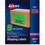 Avery Neon Shipping Label, Laser, 8 1/2 x 11, Neon Assorted, 50/Box