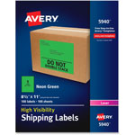 Avery Neon Shipping Label, Laser, 8 1/2 x 11, Neon Green, 100/Box