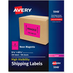 Avery Neon Shipping Label, Laser, 5 1/2 x 8 1/2, Neon Magenta, 200/Box