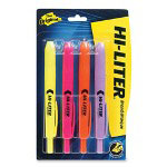 Avery Retractable Highlighters, Four Color Set, Chisel Tip, Assorted Colors