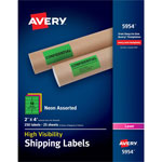 Avery Neon Shipping Label, Laser, 2 x 4, Neon Assorted, 250/Box