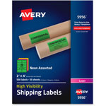 Avery Neon Shipping Label, Laser, 2 x 4, Neon Assorted, 500/Box
