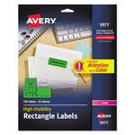 "Avery Neon Laser Labels, Rectangle, 1""x2 5/8"", Fluorescent Green, 750 per Pack"