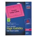 Avery Neon Laser Labels, Rectangle, Assorted Fluorescent Colors, 8 1/2 x 11, 15/Pack