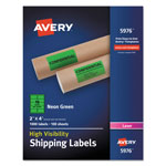 Avery Neon Shipping Label, Laser, 2 x 4, Neon Green, 1000/Box