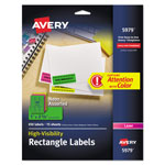 "Avery Neon Laser Labels, Rectangle, Assorted Fluorescent Colors, 1""x2 5/8"", 450 per Pack"