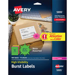 "Avery Fluorescent Burst Laser Labels, 1 1/2"" Diameter, 360/Pack"