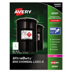 Avery GHS Chemical Labels, 8 1/2 x 11, White, 50/Box