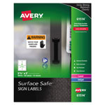 Avery Surface Safe Sign Labels, 3 1/2 x 5, White, 60/Pk