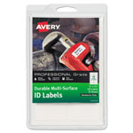 Avery Durable Multi-Surface ID Labels, 3/4 x 1 3/4 , White, 120/Pack