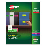Avery Removable Self-Adhesive Color-Coding Labels, 1 x 2-5/8, Assorted Neon