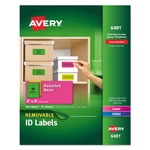 "Avery Removable Self Adhesive Color Coding Labels, 2""x4"", Assorted Neon, 120 per Pack"