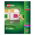 Avery Removable Self-Adhesive Color-Coding Labels, 3-1/3 x 4, Assorted Neon, 72/Pack