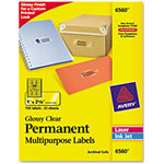 "Avery Permanent I.D. Labels, 1""x2 5/8"", Clear"