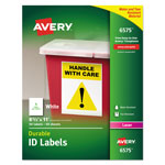 "Avery Permanent White Durable I.D. Labels for Laser Printers, 8 1/2""x11"", 50 per Pack"