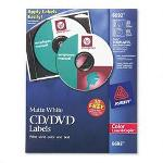 Avery CD/DVD White Matte Labels for Color Laser Printers, 30/Pack