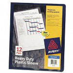Avery Heavy Duty Thumb Notched Poly Plastic Sleeves, Blue, Letter Size, 12 per Pack
