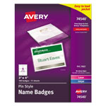 "Avery Pin Style Name Badges, 3""x4"", Top-Loading, White, Box of 100"
