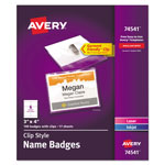 "Avery Garment Friendly™ Clip Style Name Badges, 3""x4"", Top-Loading, White, Box of 100"