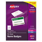 "Avery Pin Style Name Badges, 2 1/4""x3 1/2"", Top-Loading, White, Box of 100"