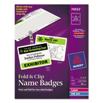 "Avery Fold & Clip Name Badges, 3""x4"", White"