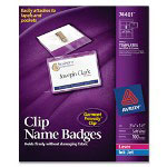 Avery Clip Style Rigid 2 x 3 Laser/Ink Jet Badges, 100 White Inserts/100 Holders