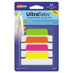 Avery Ultra Tabs Repositionable Tabs, 2.5 x 1, Neon:Green, Orange, Pink, Yellow, 24/Pk