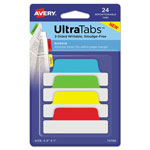 Avery Ultra Tabs Repositionable Tabs, 2.5 x 1, Primary:Green, Red, Yellow, Blue, 24/Pk