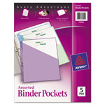 Avery Binder Pockets, Assorted Colors