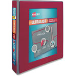 "Avery UltraLast View Binder w/1-Touch Slant Rings, 11 x 8 1/2, 1 1/2"" Cap, Red"