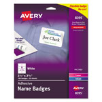 Avery Self Adhesive Laser/Ink Jet Name Badge Labels, 2 1/3x3 3/8, Plain White, 160/Pack