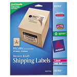 Avery Brown Kraft Shipping Labels, 5 1/2 x 8 1/2, 20/Pack