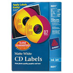 Avery CD/DVD White Matte Labels for Ink Jet Printers, 100 per Pack