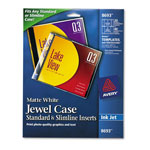 Avery CD/DVD White Matte Jewel Case Inserts for Ink Jet Printers, 20/Pack