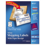 Avery Shipping Labels with Paper Receipt, 5 1/2 x 8 1/2, White, 10/Pack