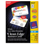 Avery Clean Edge Inkjet Business Cards, White, Round Edge, 2 x 3 1/2